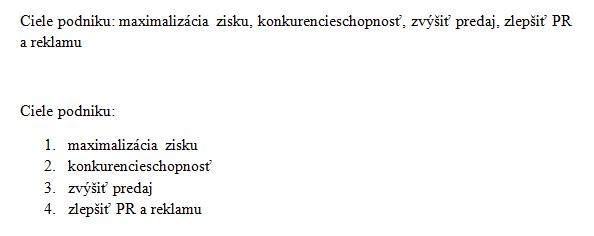 Text a zoznam