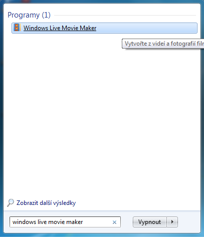 Vyhľadanie programu Windows Movie Maker