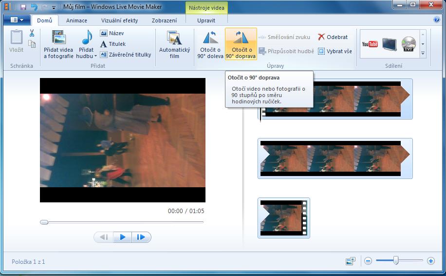 Otočenie video v programe