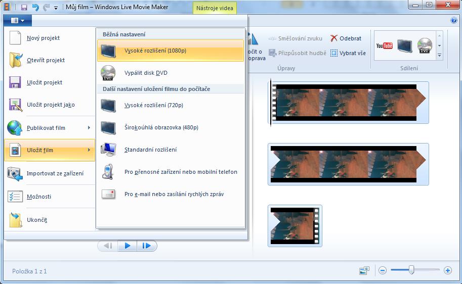 Uloženie videa