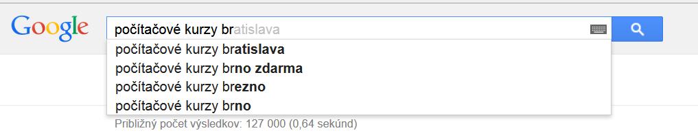 Kľúčové slová v Googli