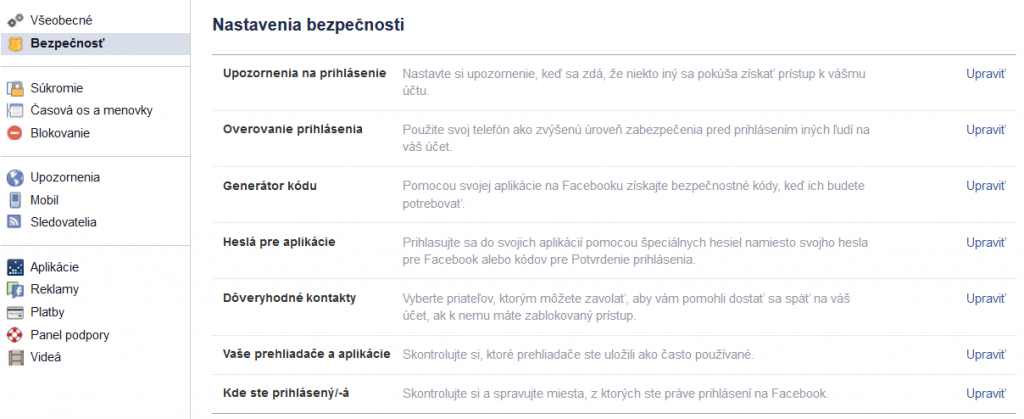 Facebook bezpečnosť