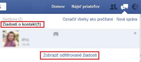 Facebook - odfiltrované žiadosti
