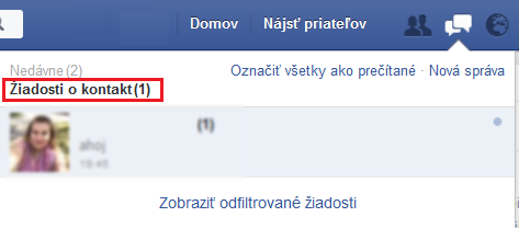 Facebook - žiadosti o kontakt