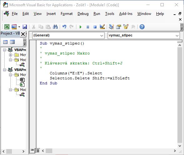 Makro vymaž stĺpec - Excel