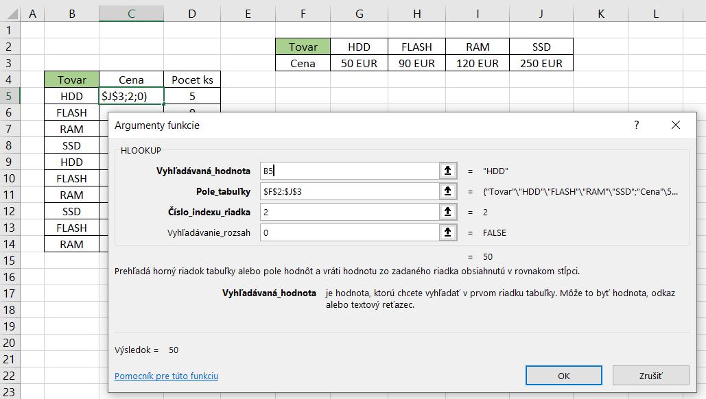 Hlookup v Exceli