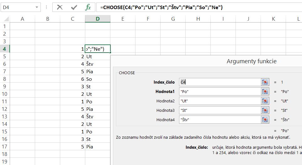 Excel funkcia Choose
