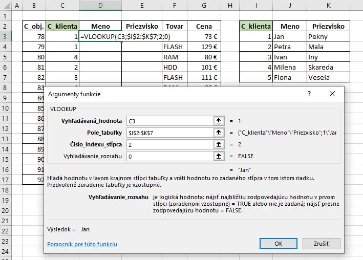 Príklad na Vlookup funkciu v Exceli