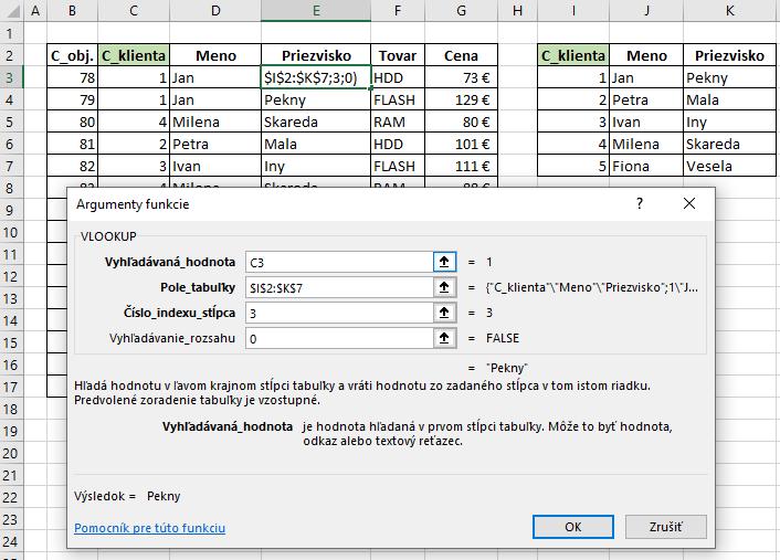 Vlookup funkcia v Exceli príklad na priezvisko