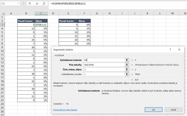 Funkcia VLOOKUP a intervaly